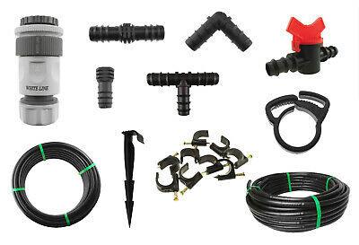 13mm Automatic Irrigation Pipe & Connectors, Garden Watering Elbow, Tee, Joiner • 6.35£