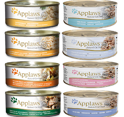 APPLAWS CAT FOOD X24 - (70g / 156g) - Pet Feed Tin Meal Wet Can Adult Bp PawMits • 29.99£