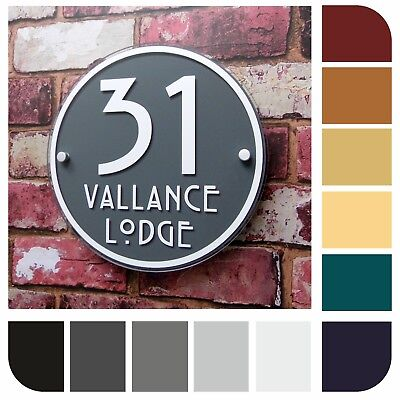 HOUSE SIGNS / MODERN ADDRESS PLAQUES DOOR NUMBER ROUND HANDMADE Property Plate • 14.99£