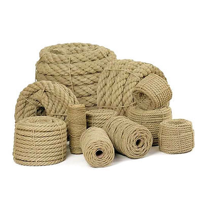 Natural Jute Rope Twisted Braided Decking Garden Boating Sash 6-60mm Up To 500m • 1.19£