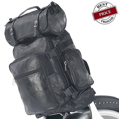 $63.50 • Buy HARLEY MOTORCYCLE SISSY T-BAR LEATHER LUGGAGE BAGS 3 Pieces