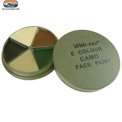 TACTICAL MULTI TERRAIN CAMOUFLAGE FACE PAINT 5 COLOURS With MIRROR FREE DELIVERY • 6.50£