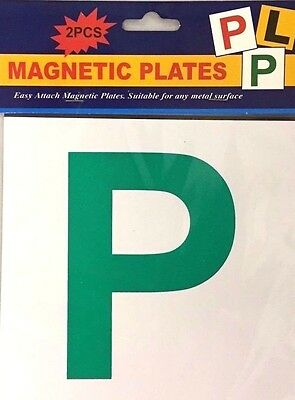 2 X PIECE  FULL  MAGNETIC P PLATE CAR LEARNER SIGN STICKERS VEHICLE STICKER • 3.45£