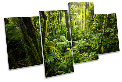 Forest Landscape Green Trees CANVAS WALL ART Four Panel Print • 62.99£