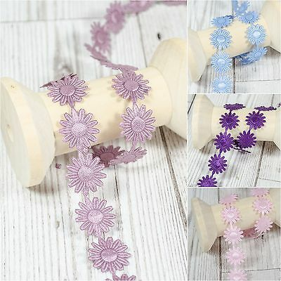 * Daisy * Flowers Trim Satin Lace Ribbon CRAFTS Scrapbook Crafts Sewing Margaret • 0.99£