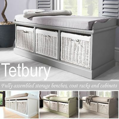 Tetbury Bench With 3 Storage Baskets. Sturdy Hallway Bench With Cushion Seat. • 219.99£