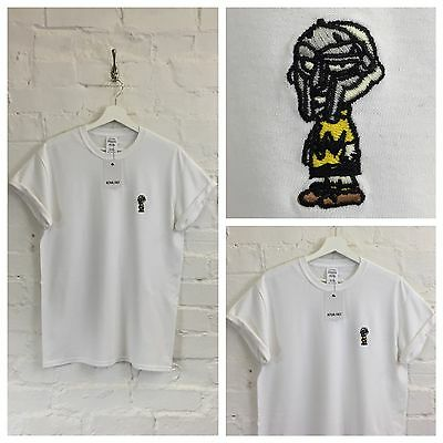 £20 • Buy Actual Fact  Charlie Brown X MF Doom White Embroidered Hip Hop Tee T-shirt