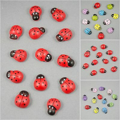 2 Sizes - Pack Of 12pcs Red Multicolou Wooden Ladybug Sticker Decoration Crafts • 1.80£