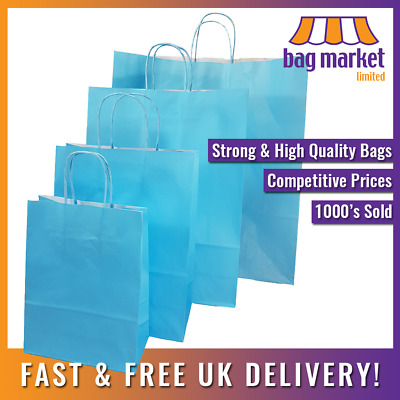 Light Blue Twisted Handle Paper Bags! | Carrier/Kraft/Strong/Gift/Fashion/Shop • 12.99£