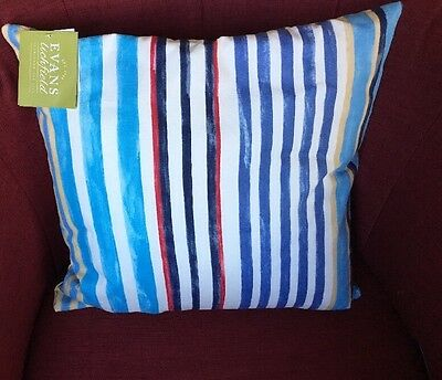 STRIPED COTTON SCATTER CUSHION - 43x43cm RED/WHITE/BLUE - BY EVANS LICHFIELD • 9.99£