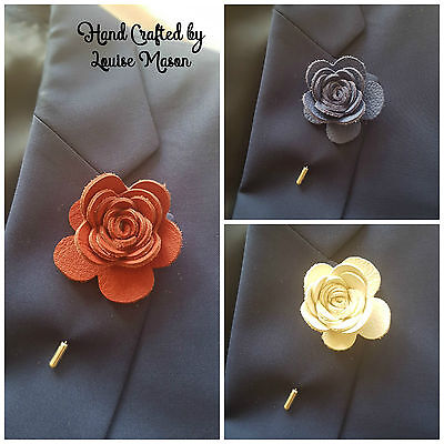 REAL LEATHER Rose Flower Lapel Pin Boutonniere Mans/ Ladies/unisex Handmade  • 8.15£