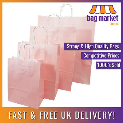 £5.25 • Buy Strong Light Pink Ribbed Twisted Handle Paper Bags | Kraft/Gift/Fashion/Shop