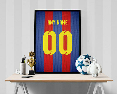 FC Barcelona Jersey Poster - Personalized Name & Number FREE US SHIPPING • 10.92£