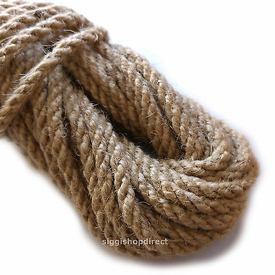 6mm 100% Natural Pure Jute Rope 3 Strand Braided Twisted Cord Twine Sash • 2.99£