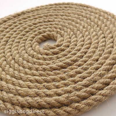 5 Metres Natural Jute Rope DIY Craft Twisted Twine Braided Cord String 6-12mm • 12.99£
