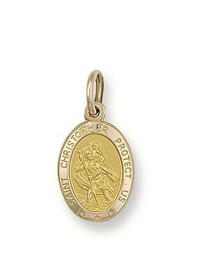 £62.90 • Buy 375 9ct Solid Yellow Gold St Christopher Pendant & 16  Or 18  Chain