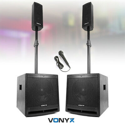 VX1000 Active PA Speaker System With Mounts & Mic Bluetooth Loud Mobile DJ Set • 295£
