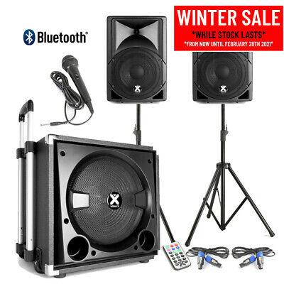 VX800 Active PA Speaker System With Stands & Mic Bluetooth Loud Mobile DJ Set • 259£