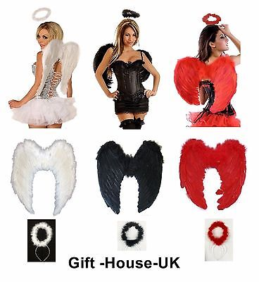 Fancy Dress Angel Fairy Feather Wings Halo Tutu Gothic Costume Outfit Hen Party • 4.95£