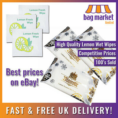 Lemon Scented Fresh Wet Wipes Individually Wrapped | Hand/Hot/Cold/Fragrant/Food • 3.99£