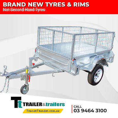 AU1725 • Buy 6x4 HEAVY DUTY GALVANISED CAGE TRAILER - SINGLE AXLE - 3FT (900mm) CAGE - 750Kg