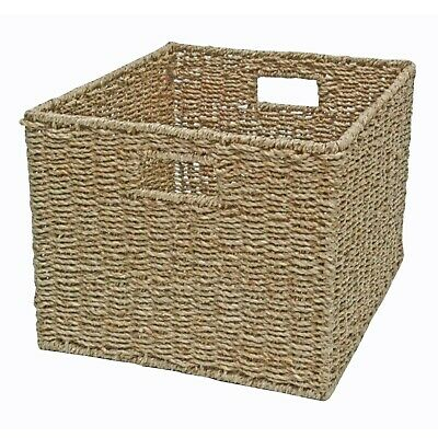 Wicker Storage Basket, Deep Shelf Drawer, Bedroom Bathroom Kitchen, Seagrass • 27.99£