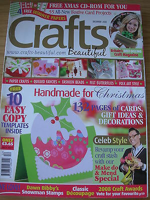 Crafts Beautiful Magazine Dec 2008 Christmas Special 132  Pages Cards Gift Ideas • 6.99£