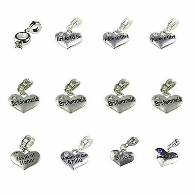 $16.99 • Buy Set Of 12 Wedding Party Charms; Two Flower Girl, Four Bridesmaid, Maid Of Honor,