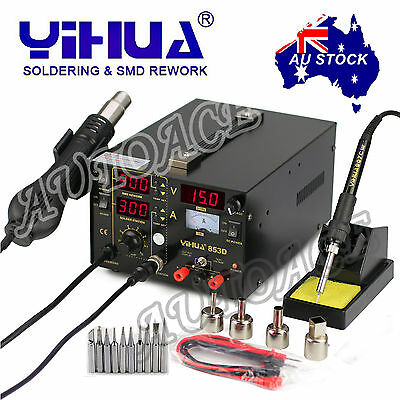 AU106.99 • Buy 3in1 YIHUA 853D 1A DC POWER SUPPLY HOT AIR GUN SOLDERING REWORK STATION OZ