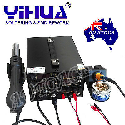 AU255.89 • Buy 3IN1 853D 5A DC POWER SUPPLY HOT AIR GUN REWORK SOLDERING Iron STATION OZ SELLER