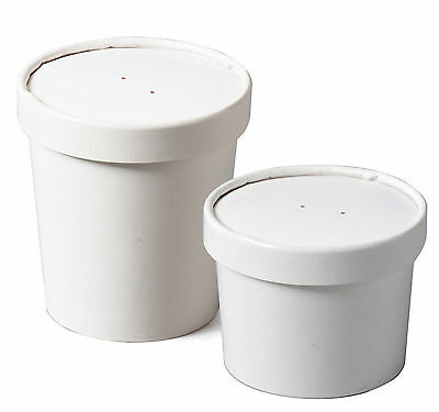 Heavy Duty Soup Containers & Lids Disposable Takeaway Ice Cream Tubs 12oz/16oz • 8.25£