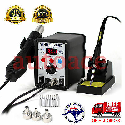 AU99.89 • Buy Desoldering Soldering Rework STATION YIHUA 8786D Hot Air Gun 3 Nozzles 10 Tips