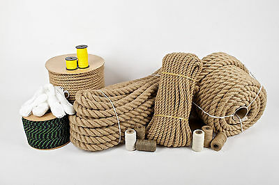 Natural Hessian Jute Rope Cord Braided Twisted Price Per Meter NEW • 2.38£