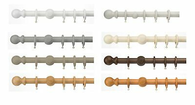 Universal 35mm Wooden Curtain Pole, Wood Pole Set With Rings And Fixings • 8.99£