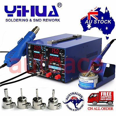AU206.89 • Buy 3in1 YIHUA853D 3A DC POWER SUPPLY HOT AIR GUN SOLDERING REWORK STATION OZ SELLER