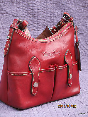 $138 • Buy Dooney & Bourke Small Lucy Red Florentine Leather Shoulder Bag Gently Loved