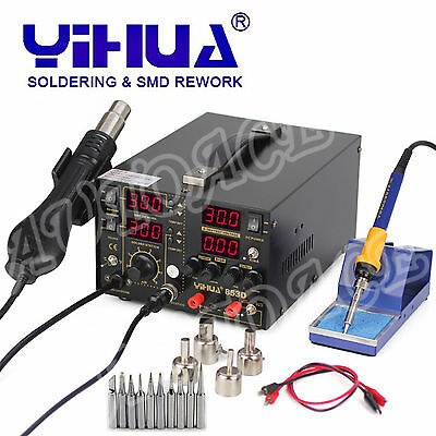 AU265.89 • Buy 3IN1 853D 5A DC POWER SUPPLY HOT AIR GUN REWORK SOLDERING Iron STATION OZ