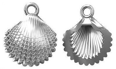 One Large Sterling Silver 925 Clam Shell Charm / Pendant + Closed Ring, 14 Mm • 3.75£