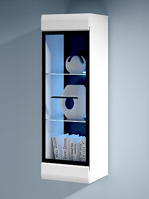 WHITE GLOSS Wall Display Tall Cabinet Glass Door LED Light Black Trim Unit Fever • 114.95£