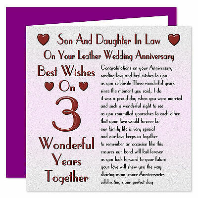 Son & Daughter In Law - 1st - 40th Years - Your Wedding Anniversary Card - Verse • 3.99£