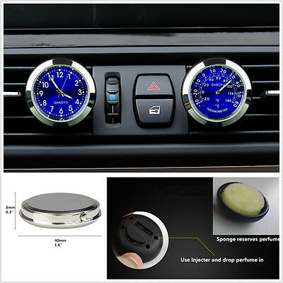 £21.84 • Buy Blue Dial Car Offroad A/C Vent Clip Clock Thermometer Kit Perfume Refill Storage
