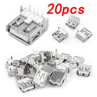 $1.89 • Buy 20 PCS USB Type-A Female PCB Mount Socket Plug Connector Right Angle 4 Pin Hot
