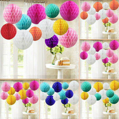£6.79 • Buy 12 Mixed Sizes PAPER HONEYCOMB BALLS Tissue Paper Pompoms Wedding Party Decor