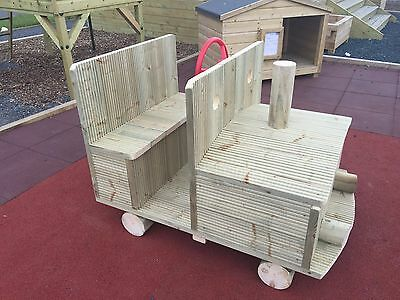 Kids Wooden Tractor/ Car/ Train Treated En1176. Nursery Commercial Play Unit • 554£