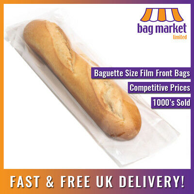 £34.99 • Buy 4  X 6  X 14  Film Front White Paper Bags! | Cellophane/Window/Baguette/Food