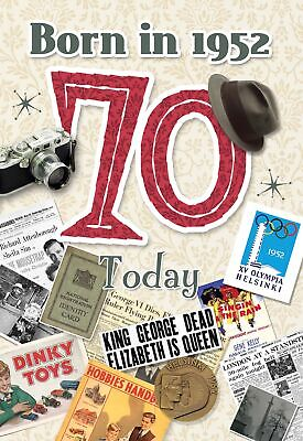 £3.25 • Buy 70th Birthday Card 1951 Year You Were Born Male Year Facts Inside Card