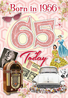 65th Birthday Card 1955  Year You Were Born Female Year Facts Inside Card • 2.95£