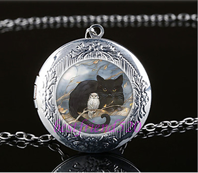 £1.74 • Buy Black Cat With Owl Cabochon Glass Tibet Silver Locket Pendant Necklace