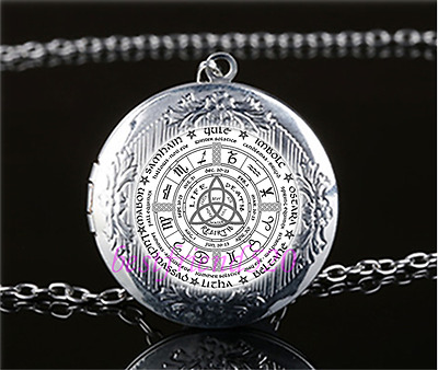 £1.82 • Buy Celtic Wheel Of The Year Cabochon Glass Tibet Silver Locket Pendant Necklace