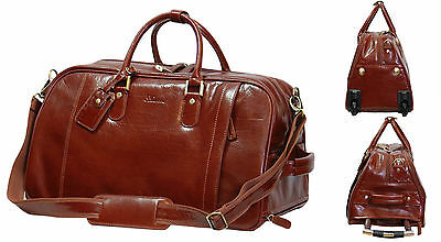 Wheeled Holdall REAL Leather Duffle Gym Cabin Travel Hand Luggage Weekend Bag  • 199£